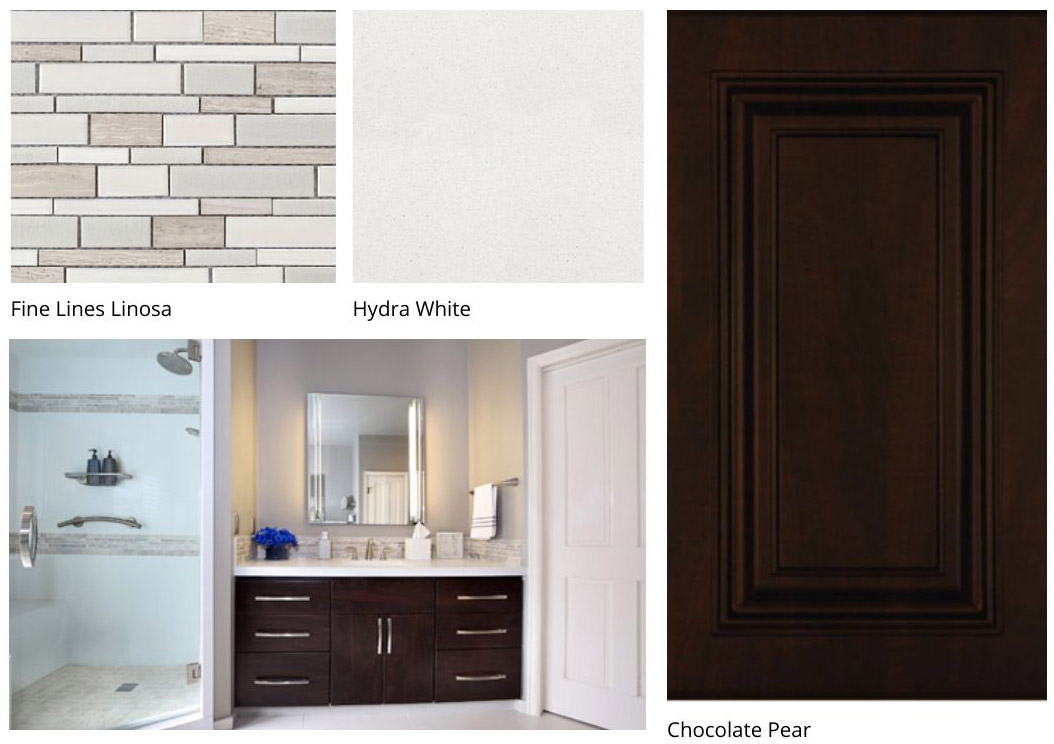 Bathroom design featuring Hydra White, Fine Lines Linosa, and Chocolate Pear