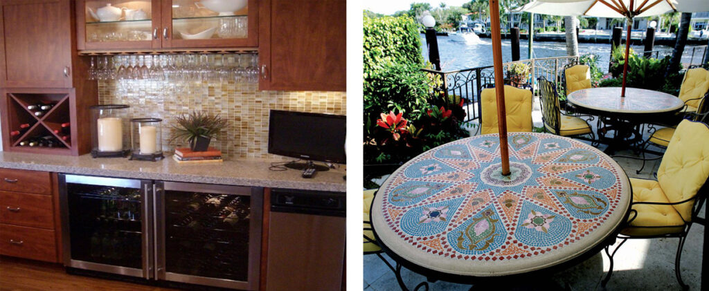 mosaic designs in entertainment areas