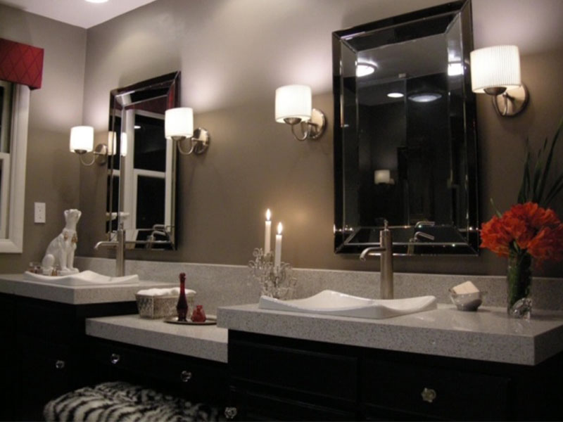 double vanity with wall sconces
