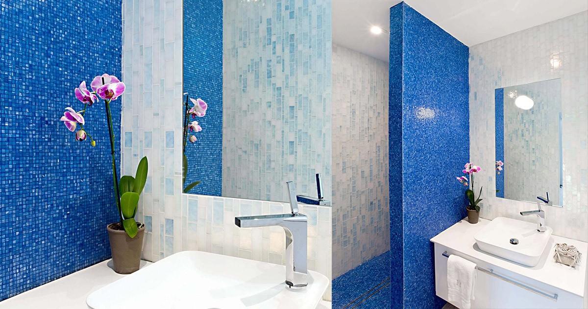beautiful blue tiled bathroom