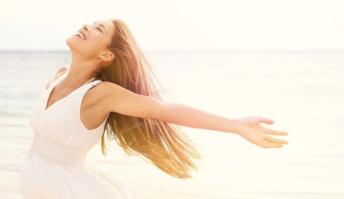Freedom,Woman,In,Free,Happiness,Bliss,On,Beach.,Smiling,Happy