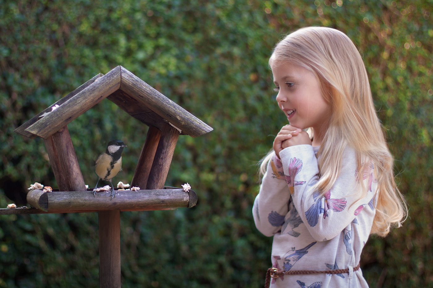 girl admiring birdhouse